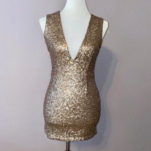 Tobi | Gold Sequin Mini Dress